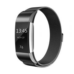 Metal Replacement Bracelet Strap with Unique Magnet Lock for Fitbit charge 2 black