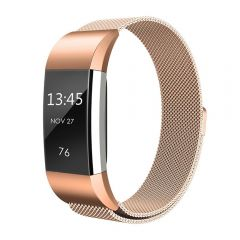 Metal Replacement Bracelet Strap with Unique Magnet Lock for Fitbit charge 2 rose