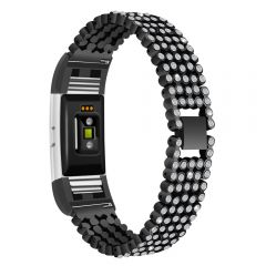 Stainless Steel Metal diamond Wristband For Fitbit Charge 2 black