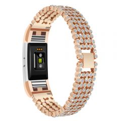Stainless Steel Metal diamond Wristband For Fitbit Charge 2 rose