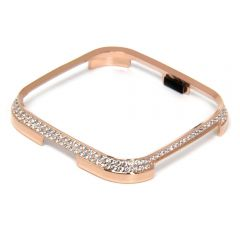 Shinny diamond metal cover case for Fitbit versa rose