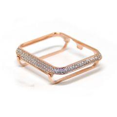 Rose gold rhinestone crystal diamond apple watch bezel case