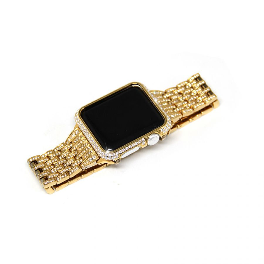 buy popular d4ce7 35178 Apple Watch Protective Case 24k Gold Diamonds Bezel 38/42mm