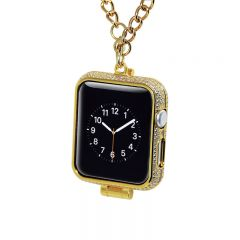 24kt Gold Plated Diamond Inlaid Protector Housing for Apple Watch Necklace Case for i-Watch Series 1&2&3