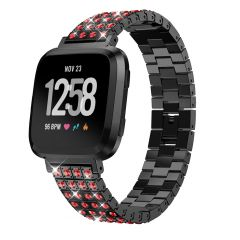 Fitbit versa colorful crystal diamond black metal watch band