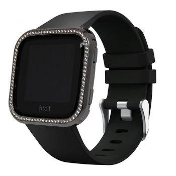 Fitbit Versa gun black with white crystal diamond alloy case