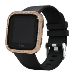 Fitbit Versa rose gold plated shiny diamond metal bezel
