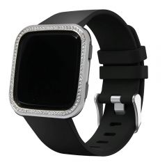 Shiny silver crystal stone Fitbit Versa watch alloy bezel