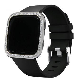 Shiny silver crystal stone  fitbit versa watch alloy bezel