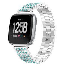 Fitbit versa colorful crystal diamond silver alloy wristband