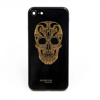 iPhone 7 jet black housing cover golden skull design