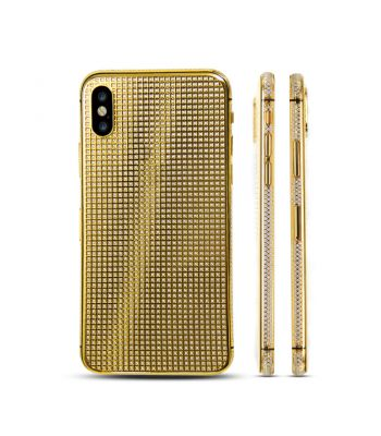 Handmade diamond-imbedded gold plated housing  for iPhone X