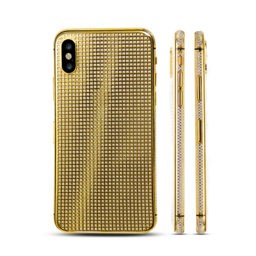 low priced 2f06a 18691 24k gold plated housing cover full diamond case for iPhone X