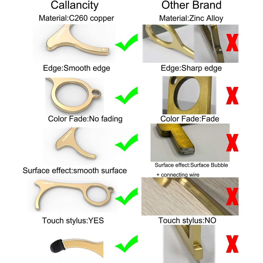 Callancity Contactless Key Handheld Brass No Touch Hand Tool Non-Contact Door Opener with Stylus Touchscreen Button Keychain Tool,Keep Hands Clean,Avoid Direct Touch Tool in The Outside 1