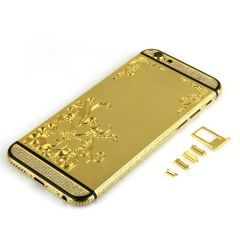 24kt gold iPhone 6 flower design housing with diamonds