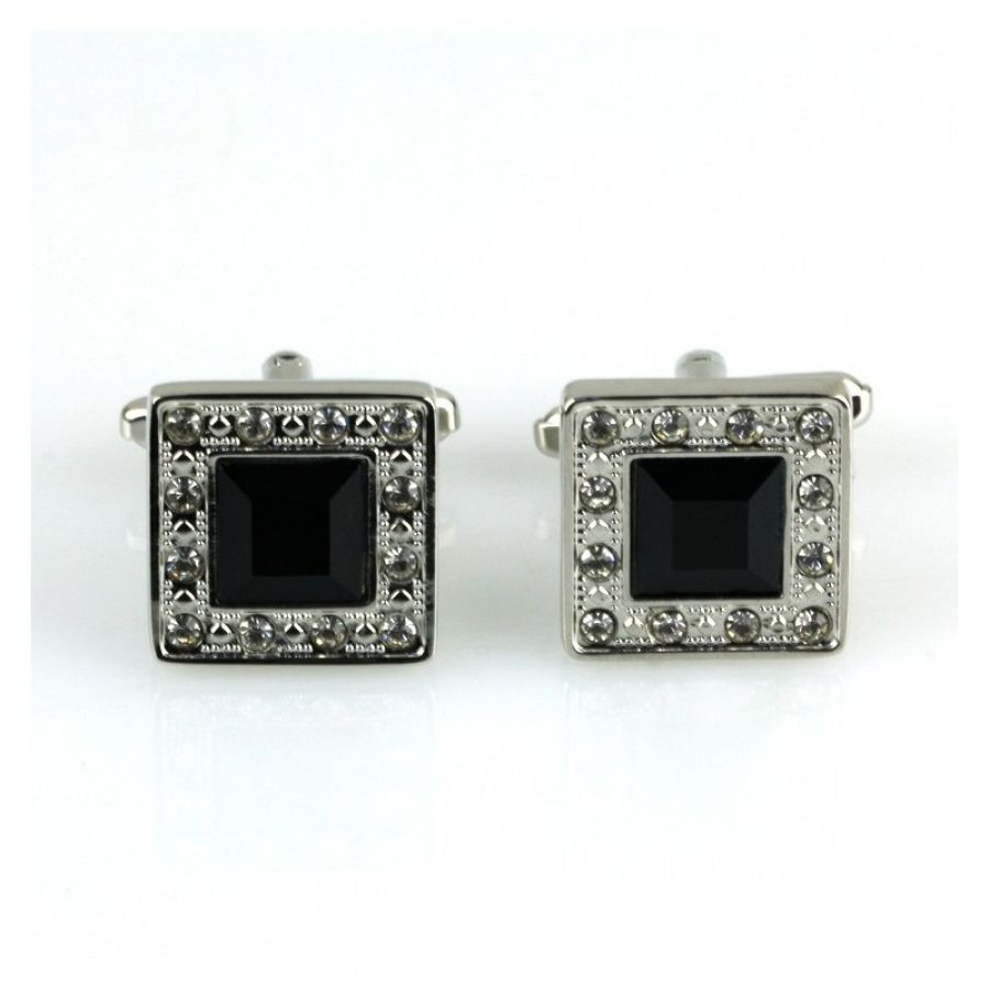 Customized Men s silver Cuff links with diamonds