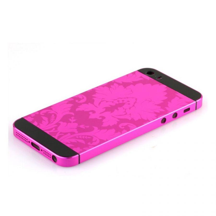 Matte hot pink iPhone 5 5s SE housing flower design No1
