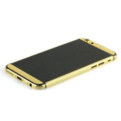 iPhone 6  24k gold Black Carbon Fiber housing with Diamonds
