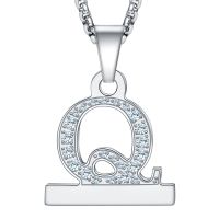 2in1 Zircon Alphabet Letter A-Z Necklace Pendant Watch Connector Adapter Stainless Steel Box Chain Compatible for Watch Series 5/4/3/2/1
