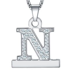 2 in 1 Zircon Alphabet F Letter A-Z Necklace Pendant Watch Connector Adapter Stainless Steel Box Chain Compatible for Smart Watch Series 5/4/3/2/1 38mm/40mm