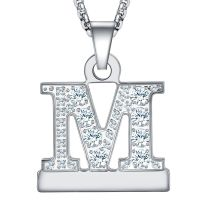 Callancity 2in1 Zircon Alphabet Letter A-Z Necklace Pendant Watch Connector Adapter Stainless Steel Box Chain Compatible for Watch Series 5/4/3/2/1