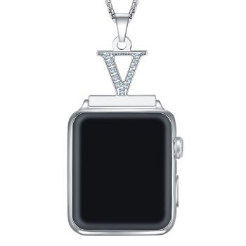 2 in 1 Zircon Letter A-Z Necklace Pendant Watch Connector Adapter Stainless Steel Chain Compatible for 38mm 40mm 42mm 44mm Smart Watch Series 5/4/3/2/1