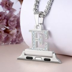 Crystal Diamond Alphabet Letter A-Z Necklace Pendant Watch Connector For Watch Series 5/4/3/2/1 38mm 40mm 42mm 44mm