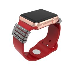Decorative Rings Loops Rhinestone Sparkling Rubber Strap Charms Compatible for Smart Watch Sport Band