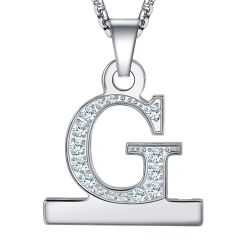 Zircon Alphabet Letter A-Z Necklace Pendant Watch Connector Adapter Stainless Steel Box Chain Compatible for Watch Series 5/4/3/2/1,38mm,40mm,42mm,44mm
