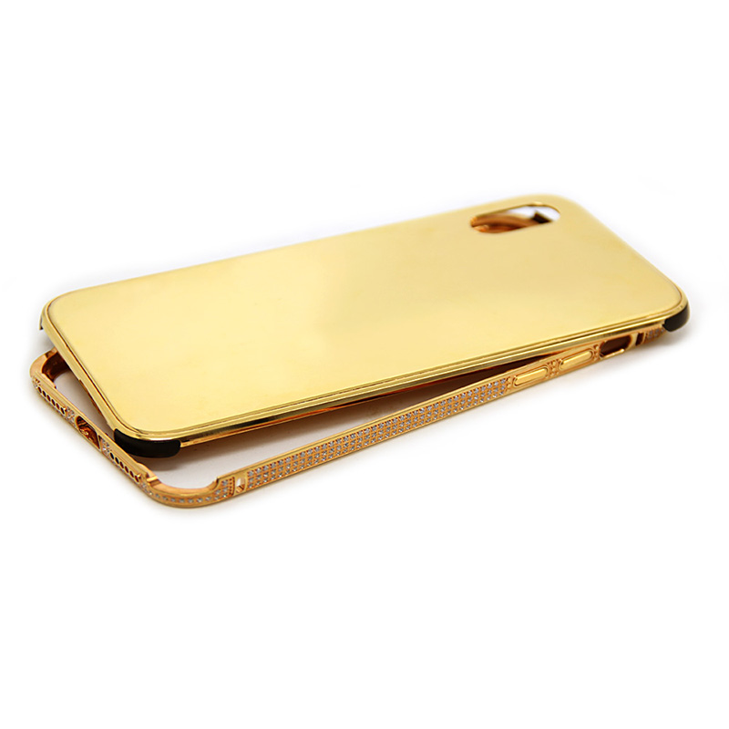 designer fashion fa130 34059 iPhone x gold plated protective case diamond back cover