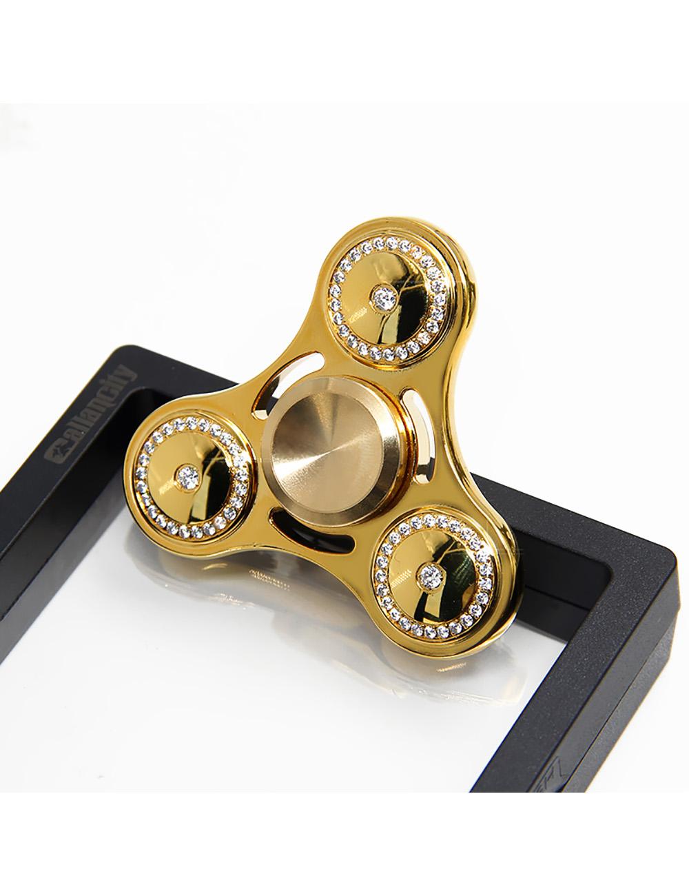 Luxury 24kt Gold Plated Brass Fidget Spinner With Diamonds